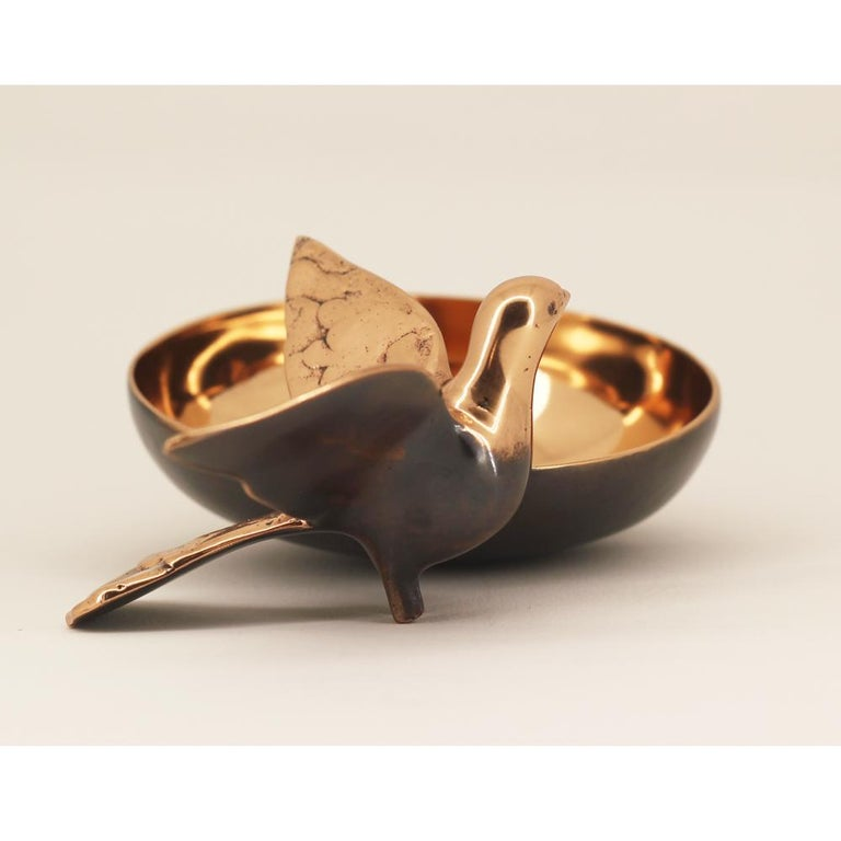 Patinated Handmade Cast Bronze Bowl with Bird For Sale