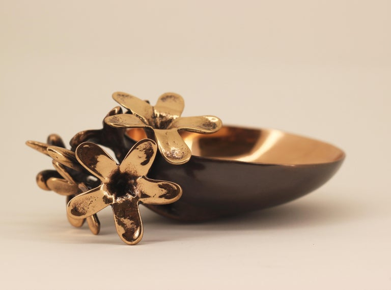 Organic Modern Handmade Cast Bronze Bowl with Flowers, Vide-Poche For Sale