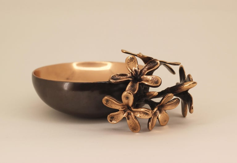 Indian Handmade Cast Bronze Bowl with Flowers, Vide-Poche For Sale