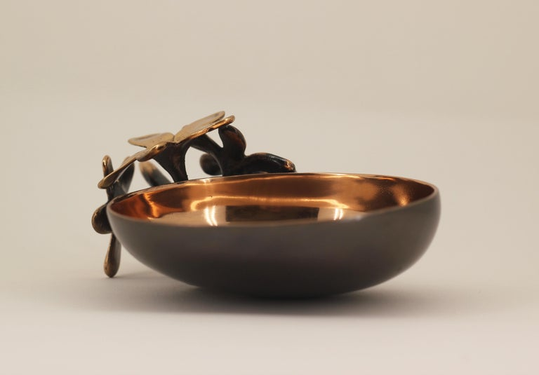 Handmade Cast Bronze Bowl with Flowers, Vide-Poche In New Condition For Sale In London, GB