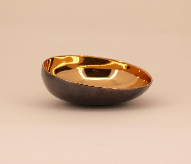 Organic Modern Handmade Cast Bronze Indian Bowl, Vide-Poche For Sale
