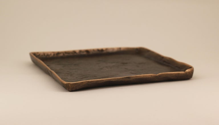 Indian Handmade Cast Bronze Tray Inspired by Wabi-Sabi For Sale