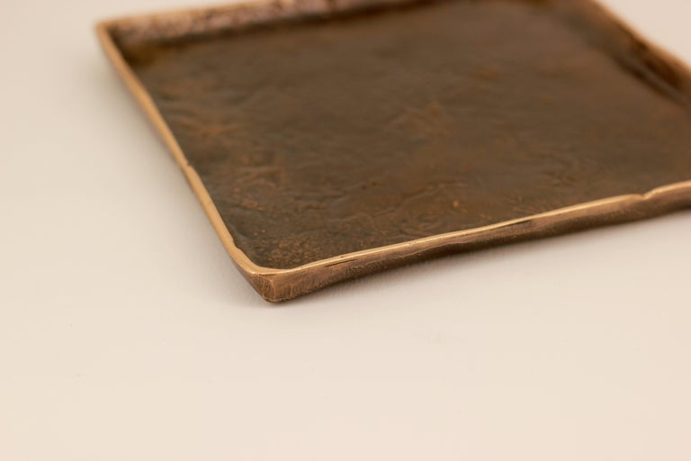 Handmade Cast Bronze Tray Inspired by Wabi-Sabi In New Condition For Sale In London, GB