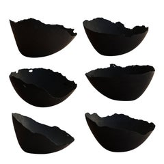 Handmade Cast Concrete Bowl in Black by UMÉ Studio, Set of Six