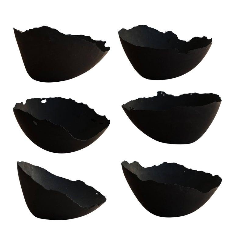 Handmade Cast Concrete Bowl in Black by UMÉ Studio, Set of Six For Sale