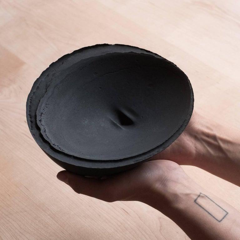 Handmade Cast Concrete Bowl in Black by UMÉ Studio, Set of Six For Sale 12
