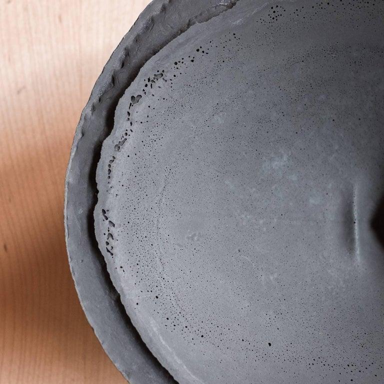 Handmade Cast Concrete Bowl in Black by UMÉ Studio, Set of Six For Sale 2