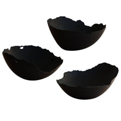 Handmade Cast Concrete Bowl in Black by UMÉ Studio, Set of Three