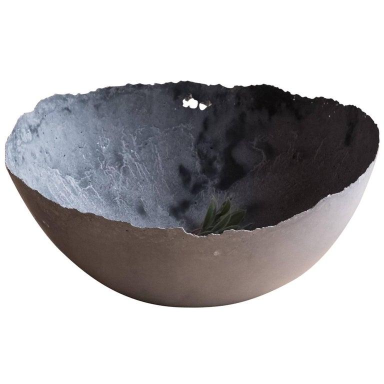 Handmade Cast Concrete Bowl in Grey by UMÉ Studio For Sale