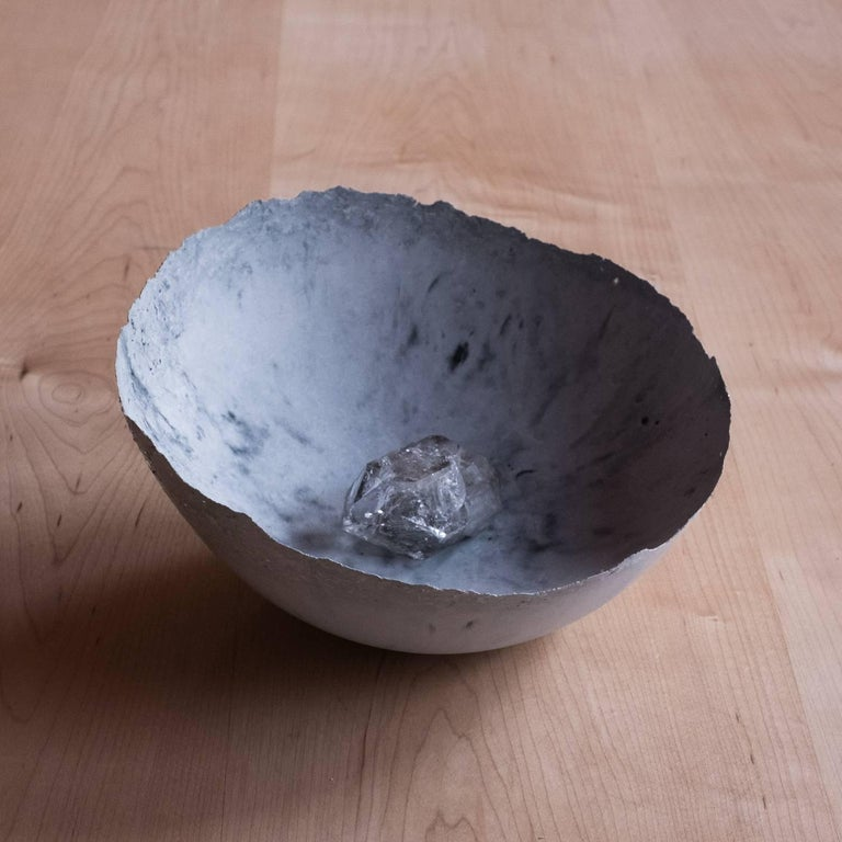 Handmade Cast Concrete Bowl in White and Grey by UMÉ Studio, Set of Six For Sale 5