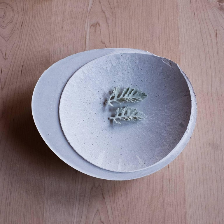 Handmade Cast Concrete Bowl in White and Grey by UMÉ Studio, Set of Six For Sale 6