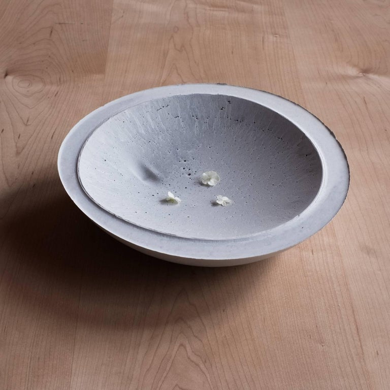 Handmade Cast Concrete Bowl in White and Grey by UMÉ Studio, Set of Six For Sale 8