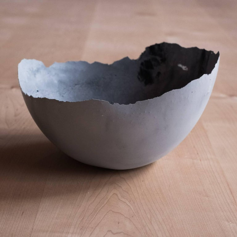 Handmade Cast Concrete Bowl in White and Grey by UMÉ Studio, Set of Six For Sale 9