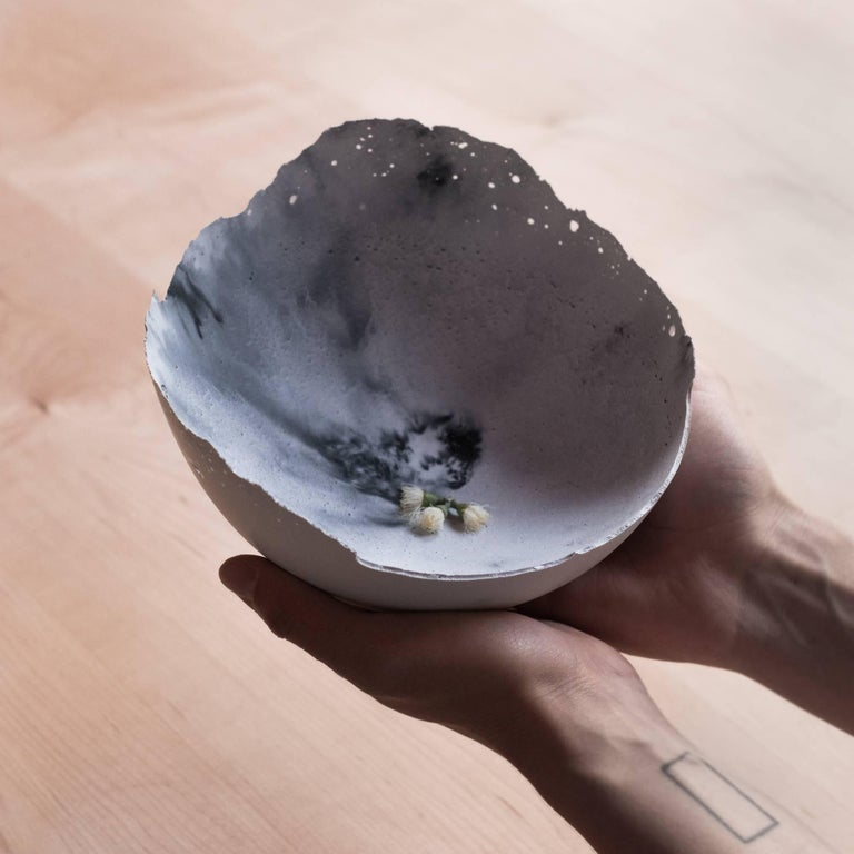 Handmade Cast Concrete Bowl in White and Grey by UMÉ Studio, Set of Six For Sale 10