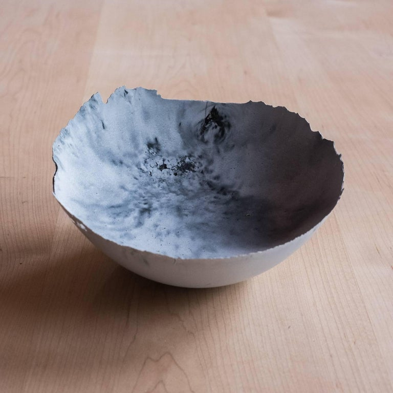 American Handmade Cast Concrete Bowl in White and Grey by UMÉ Studio, Set of Six For Sale