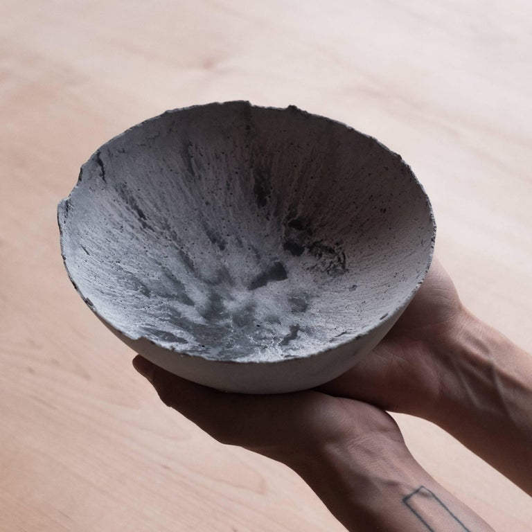 Handmade Cast Concrete Bowl in White and Grey by UMÉ Studio, Set of Six For Sale 1