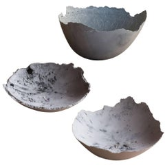 Handmade Cast Concrete Bowl in White and Grey by UMÉ Studio, Set of Three