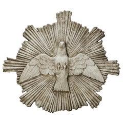 """Handmade Cast Stone Dove """"Holy Spirit"""" Religious Plaque"""