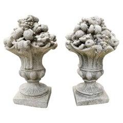 Handmade Cast Stone Fruit Flower Basket Finials Vase Urn Form Antiques LA, Pair