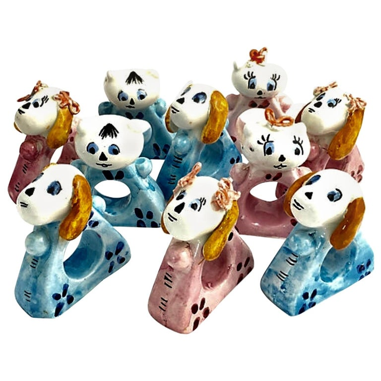 Handmade Cat and Dog Napkin Rings Set of 10 For Sale