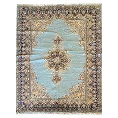 Handmade Caucasian Rug Blue Wool Carpet Area Rugs for Sale