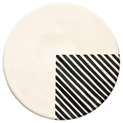 Handmade Ceramic Black and White 1/4 Stripe Pattern Serving Platter, in Stock