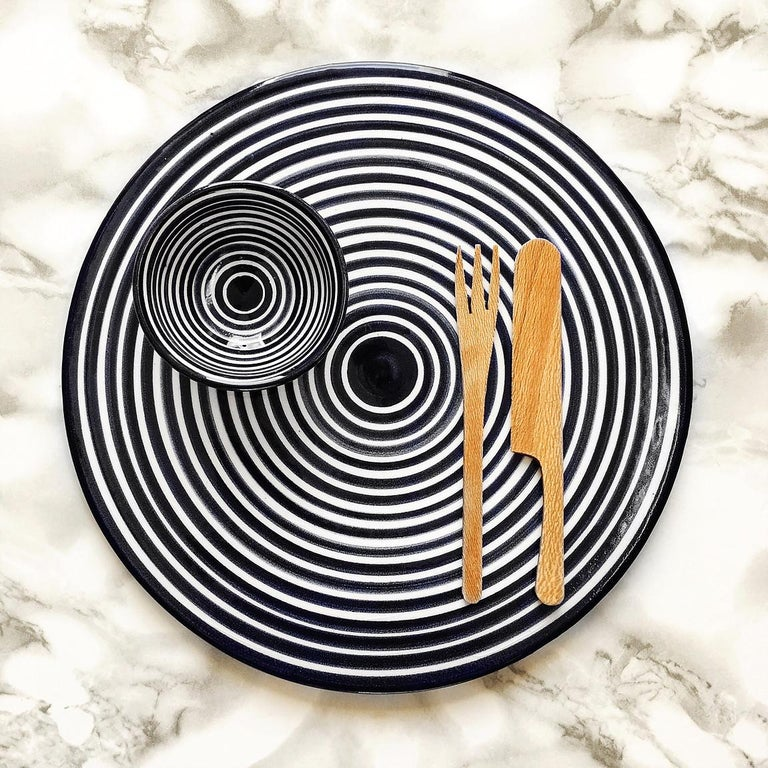 Portuguese Handmade Ceramic Black and White Circular Striped Cheese Plate, In Stock For Sale