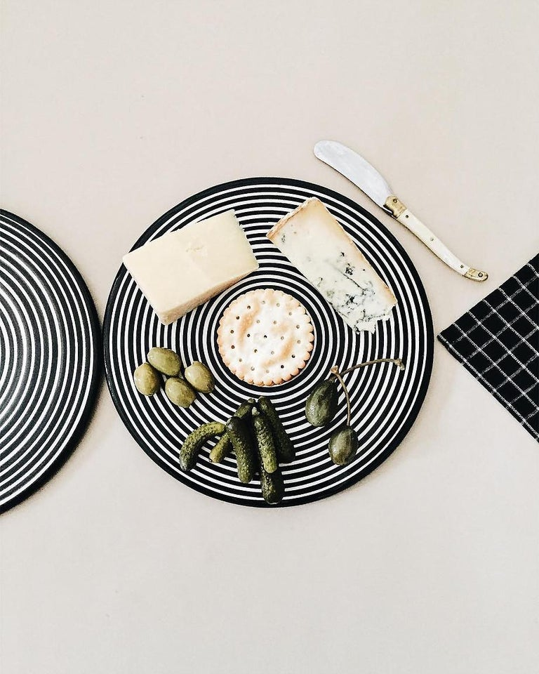 Hand-Crafted Handmade Ceramic Black and White Circular Striped Cheese Plate, In Stock For Sale