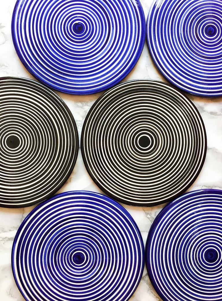 Handmade Ceramic Black and White Circular Striped Cheese Plate, In Stock In New Condition For Sale In West Hollywood, CA