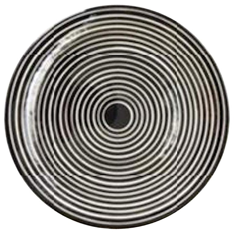 Handmade Ceramic Black and White Circular Striped Cheese Plate, In Stock For Sale