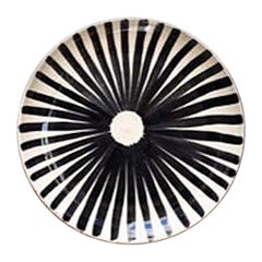 Handmade Ceramic Black and White Ray Pattern Salad Plates, in Stock