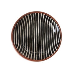 Handmade Ceramic Black and White Stripe Pattern Mini Bowl, in Stock