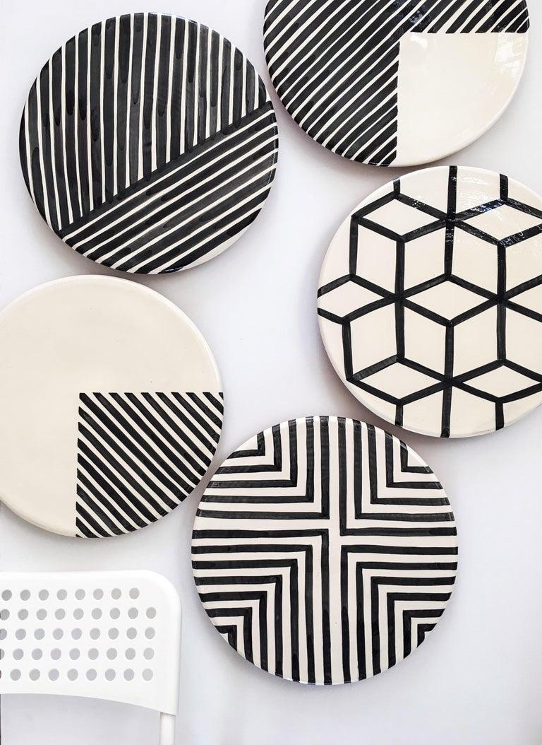 Portuguese Handmade Ceramic Black & White Offset Cross Pattern Serving Platter, in Stock For Sale