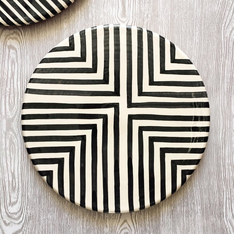 Hand-Crafted Handmade Ceramic Black & White Offset Cross Pattern Serving Platter, in Stock For Sale
