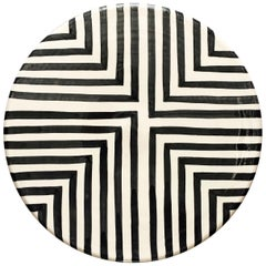 Handmade Ceramic Black & White Offset Cross Pattern Serving Platter, in Stock