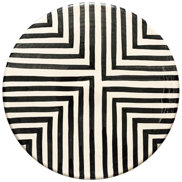 Handmade Ceramic Black & White Offset Cross Pattern Serving Platter, in Stock For Sale