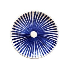 Handmade Ceramic Blue and White Ray Pattern Dinner Plates, in Stock