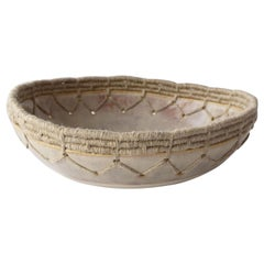 Handmade Ceramic Bowl with Gray Glaze, Woven Edge Detail
