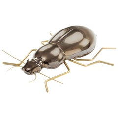 Handmade Ceramic Home Accessory Sculpture Beetle Gold, in Stock
