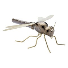 Handmade Ceramic Home Accessory Sculpture Dragonfly Gold, in Stock