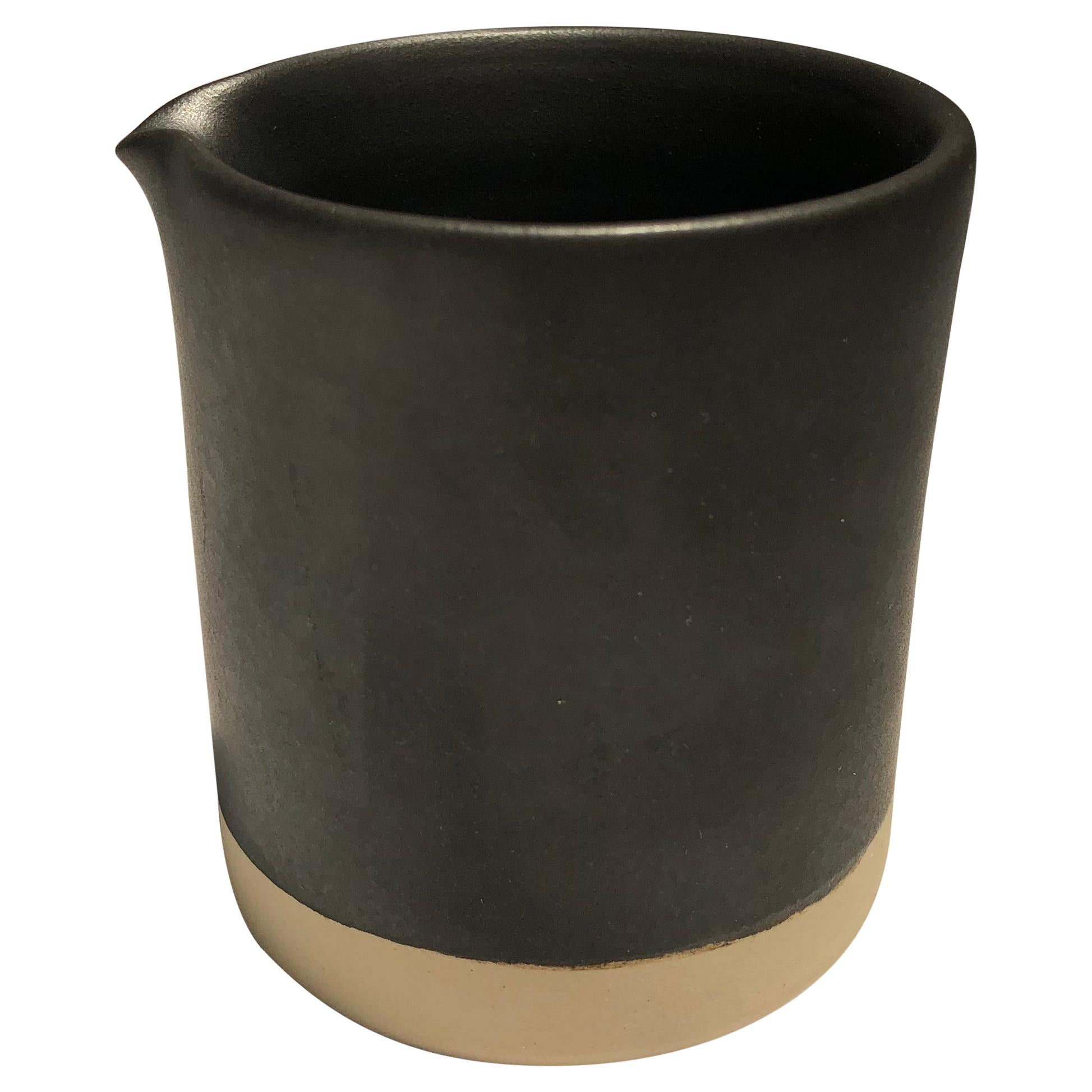 Handmade Ceramic Matte Creamer in Black, in Stock