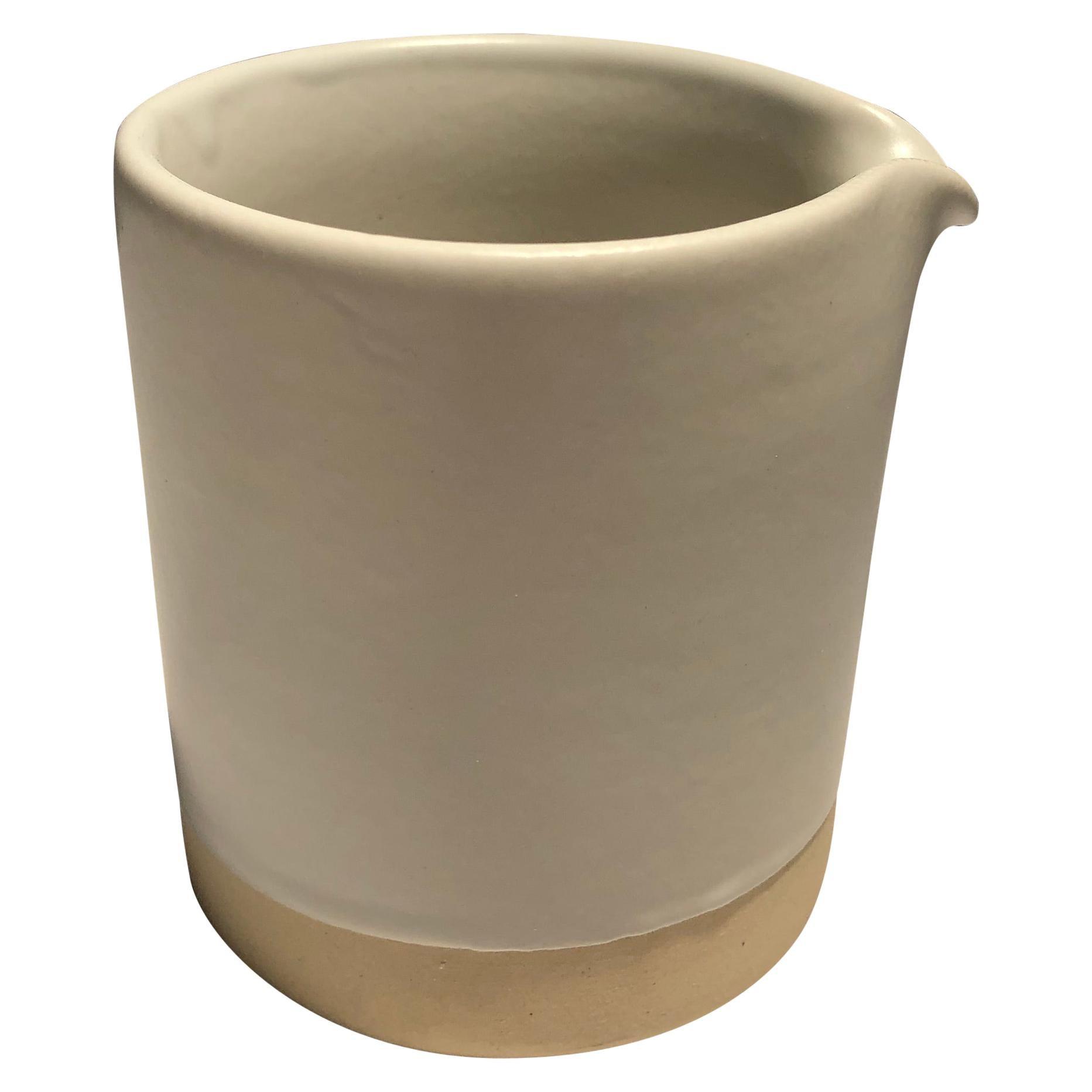 Handmade Ceramic Matte Creamer in White, in Stock