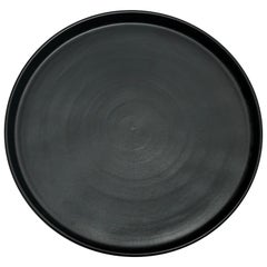 Handmade Ceramic Matte Dinner Plate in Black, in Stock