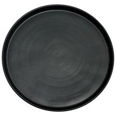 Handmade Ceramic Matte Dinner Plate in Black, in Stock