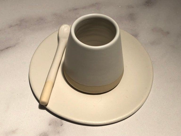 Portuguese Handmade Ceramic Matte Espresso Cup in White, in Stock For Sale
