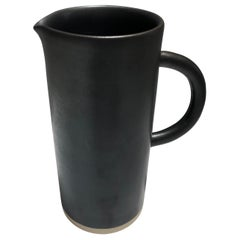 Handmade Ceramic Matte Pitcher in Black, in Stock
