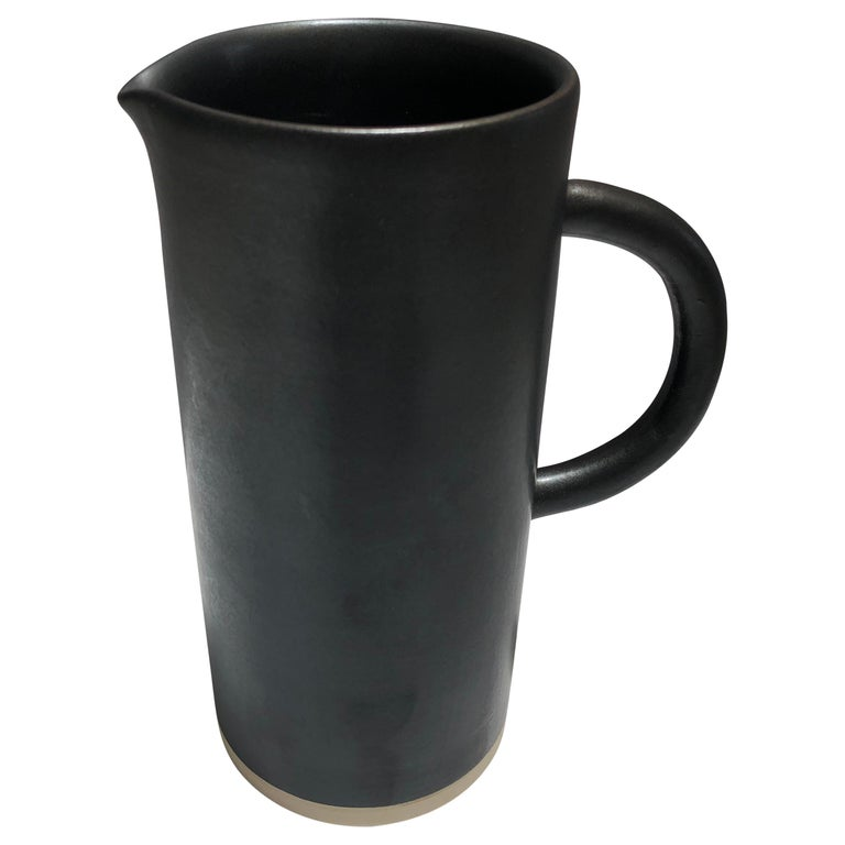 Handmade Ceramic Matte Pitcher in Black, in Stock For Sale