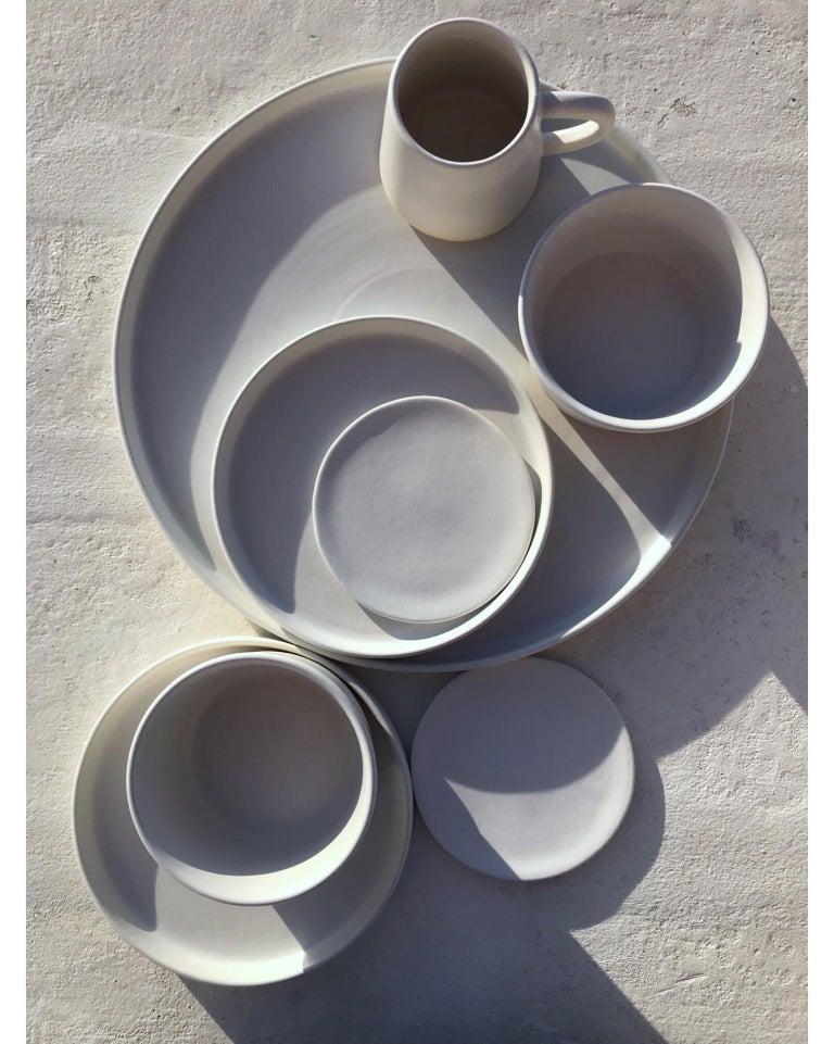 Organic Modern Handmade Ceramic Matte Pitcher in White, in Stock For Sale