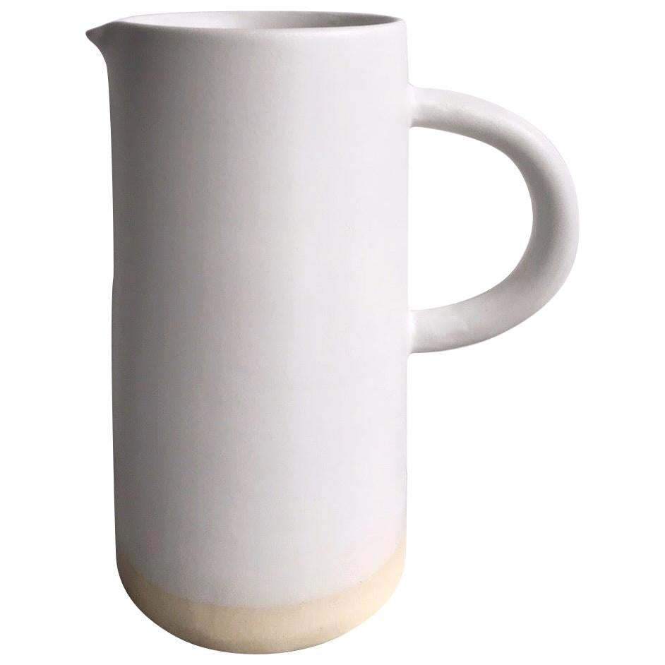 Handmade Ceramic Matte Pitcher in White, in Stock