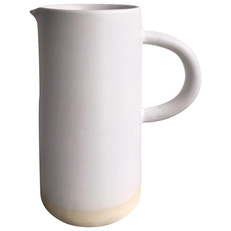 Handmade Ceramic Matte Pitcher in White, in Stock For Sale